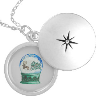 Snow Globes Mixed Pattern on Christmas Silver Base Silver Plated Necklace