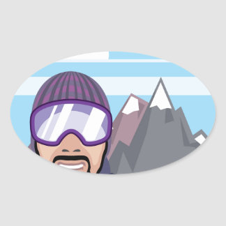 Snow goggles. mountains landscape oval sticker