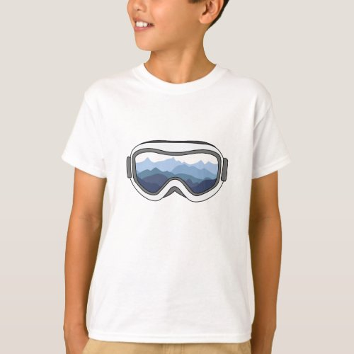 Snow Goggles with View of Mountain Range T_Shirt