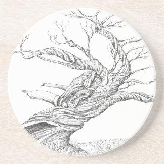 Snow Gum tree drawn in black ink.Snowy untains Coaster