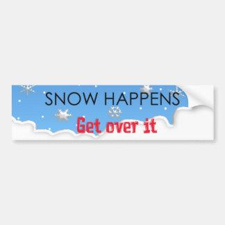 snow happens bumper sticker