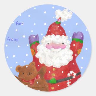 snow happy santa and teddy gift tag