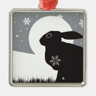 SNOW HARE SQUARE METAL CHRISTMAS ORNAMENT