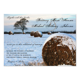 Snow Hay Field Winter Wedding Invitations