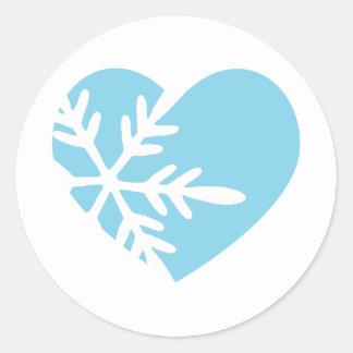 Snow Heart Round Sticker