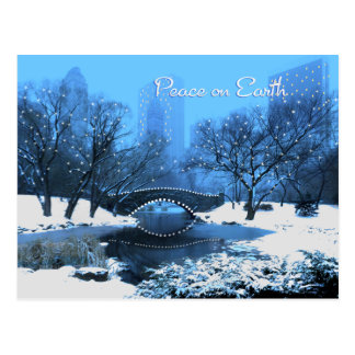 Snow & Holiday Lights in Central Park Peace Postcard