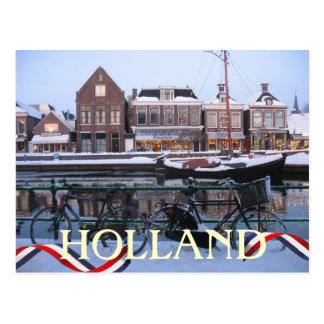 Snow Holland Town Postcard