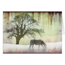 Snow Horse Holiday Christmas Card