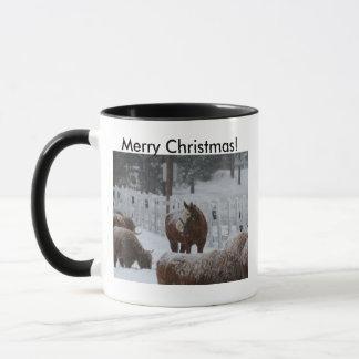 Snow Horse, Merry Christmas from Massachusetts! Mug