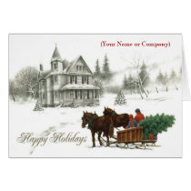 Snow Horses Corporate Imprinted Business Christmas Card
