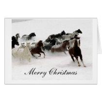 Snow Horses Merry Christmas Card