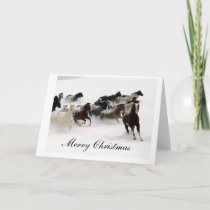 Snow Horses Merry Christmas Holiday Card
