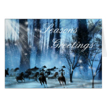 Snow Horses, Seasons Greetings Card