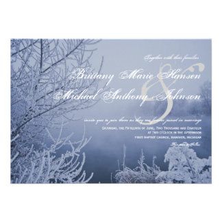Snow Ice Lake Scene Winter Wedding Invitations