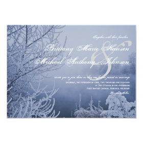 Snow Ice Lake Scene Winter Wedding Invitations 4.5