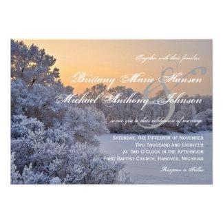 Snow Ice Trees Sunset Winter Wedding Invitations