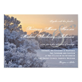 Snow Ice Trees Sunset Winter Wedding Invitations 4.5