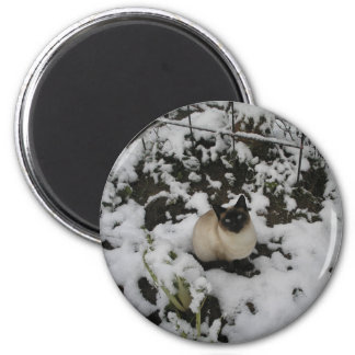 Snow Images, Snow Cat 2 Inch Round Magnet