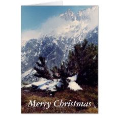Snow in Alpine Mountain Christmas Card at Zazzle