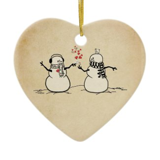 Snow in Love - love note Christmas Tree Ornaments