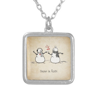 Snow in Love - love note Silver Plated Necklace
