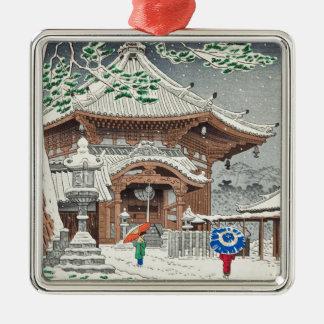 Snow in Nan Endo temple Nara Takeji Fujishima Metal Ornament