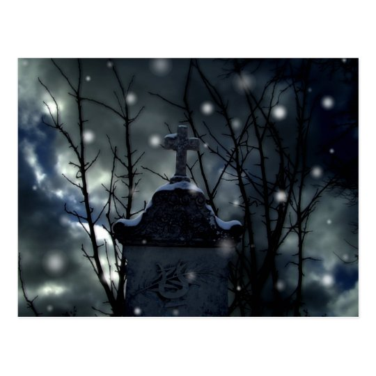 Snow in the cemetery post card