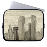 Snow in the City Abstract Monotype Print Laptop Computer Sleeves