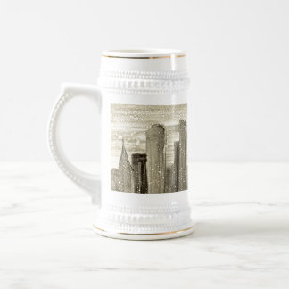 Snow in the City Abstract Monotype Print Coffee Mugs