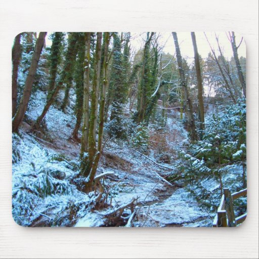 Snow in the forest mousepad