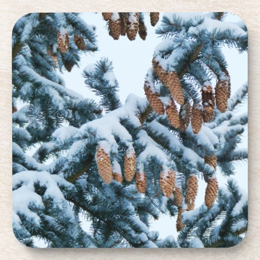 Snow in the Pines Cork Coasters
