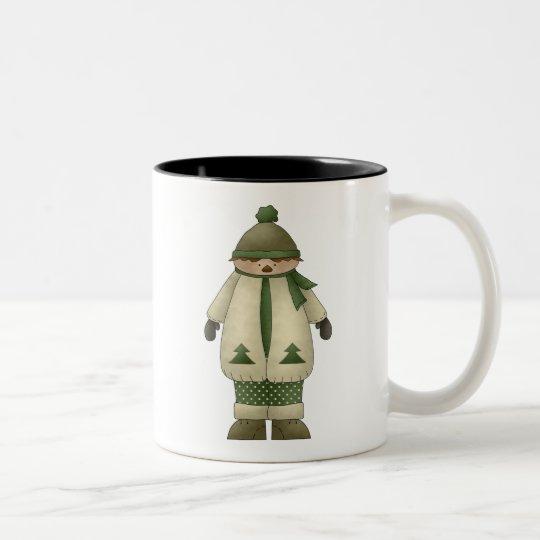 Snow Kids · Boy in Cream & Green Two-Tone Coffee Mug
