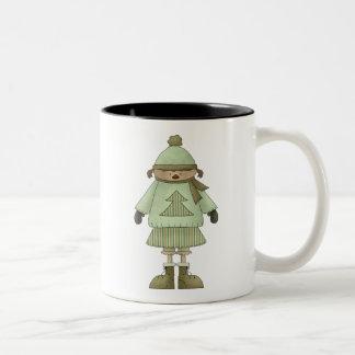 Snow Kids · Girl in Green Two-Tone Coffee Mug