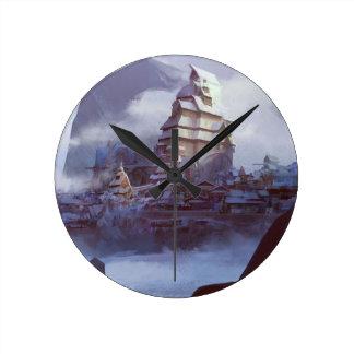 Snow Kingdom Round Clock