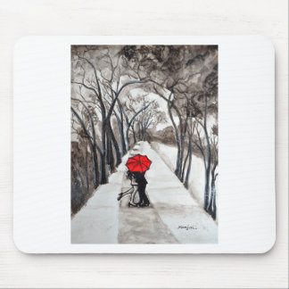 Snow Kiss Romantic painting Mouse Pad