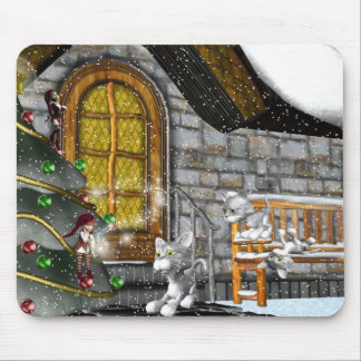 Snow kittens Holiday play Mousepad