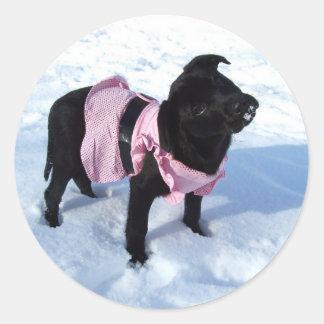 snow Labrador dog sticker