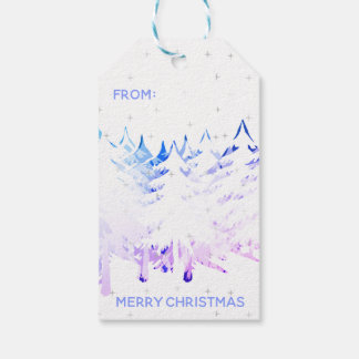 Snow Laden Christmas Trees in Blue Purple & White Gift Tags