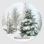 Snow-Laden Trees, Merry Christmas Classic Round Sticker