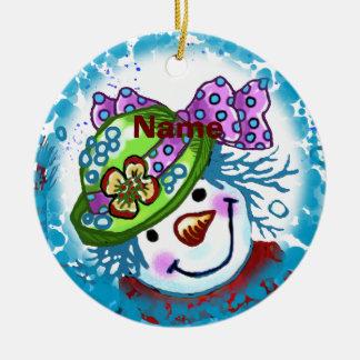 Snow Lady Snowman round ornament