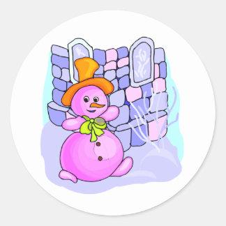 Snow Lady Round Stickers