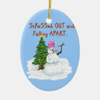 Snow lady stressed out and falling apart ceramic ornament