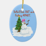 Snow lady stressed out and falling apart christmas tree ornaments