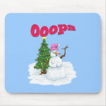 Snow lady with christmas tree OOps Mouse Pad