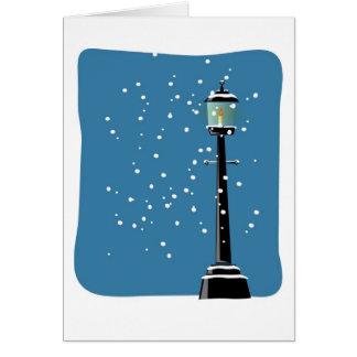 Snow Lamplight Christmas Holiday Xmas Blank Inside Card