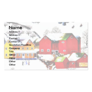 snow land with houses and trees around business cards