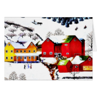 snow land with houses and trees around card