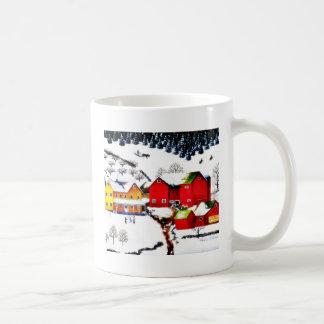 snow land with houses and trees around classic white coffee mug