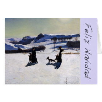 Snow Landscape Feliz Navidad with Chrome Letters Card
