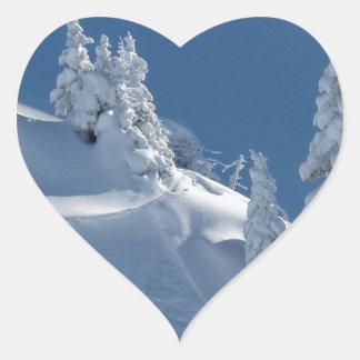 Snow Landscape Heart Sticker